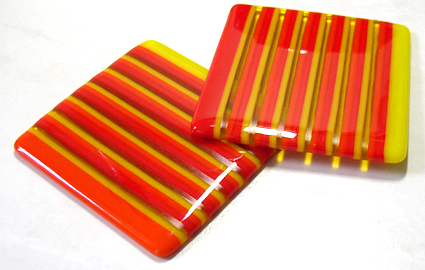 orange strip-fused glass coasters
