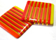 orange striped glass coasters