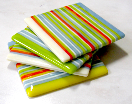 opaque strip-fused glass coasters
