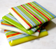striped glass coaster set
