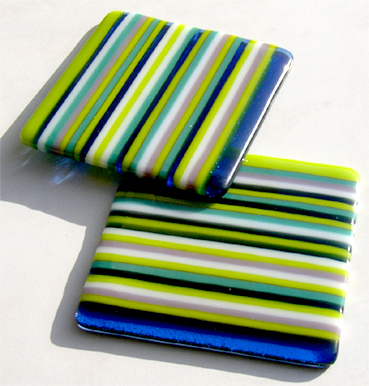 green blue lilac strip-fused glass coasters