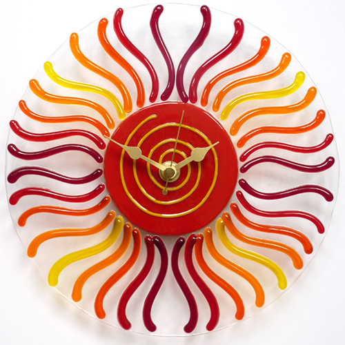 red-orange fused glass wall clock
