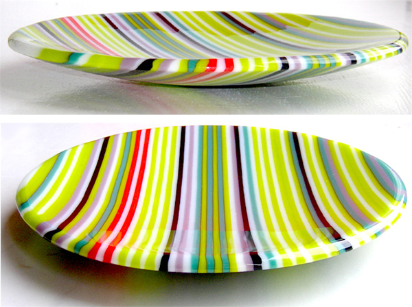 Pastel pin-stripe fused glass dish